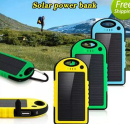 Wholesale Power Bank External Battery Waterproof - 2017 5000mAh Solar power bank waterproof shockproof Dustproof portable Solar powerbank External Battery for Cellphone iPhone 7 7Plus