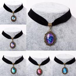 Wholesale Collares Vintage Retro - Wholesale- 6 Colors 2016 collares Vintage Stretch Choker Necklace Retro Gothic Elastic Star Galaxy Nebula Maxi Necklaces for women
