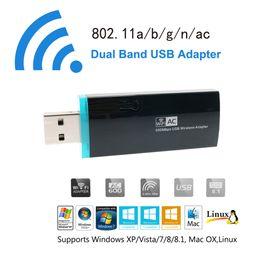 n box tv Скидка Оптовая продажа-AC 600 WiFi адаптер ультра быстрый двухдиапазонный USB 2.0 беспроводная сетевая карта 2.4 ГГц 5 ГГц Mini Wireless-N Dongle для ПК TV Box Desktop