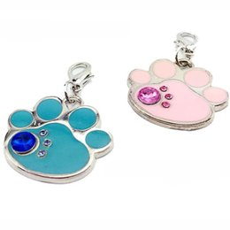 Wholesale 100pcs Blank PAW design zinc alloy pet dog ID tags Collar pendants inlaid with diamonds
