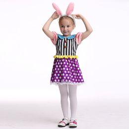 Wholesale Rabbit Dance Costume - Bunny Girl Costume Halloween Costume For Kids Stage & Dance Wear Rabbit Skirt Party Cosplay Toddler Short Sleeve Dress