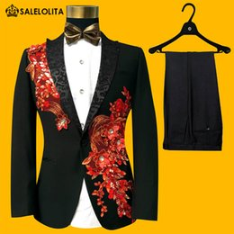 Wholesale Embroidered Wedding Jackets - Wholesale- Brand New Red Blue Embroidered Paillette Men Wedding Suits Male Slim Fit Groom Tuxedos Two-piece Suits Jacket Set 2017