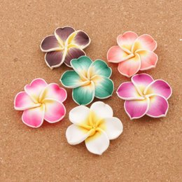 Wholesale Porcelain Beads Flowers - 2017 40mm Colorful Polymer Clay Plumeria Flower Beads 50pcs lot Beads Loose Beads Hot sell Jewelry