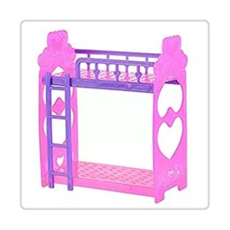 Wholesale Free House Furniture - Hot Doll Accessories Play Dream House Bed Cute Plastic Double Dolls Bed Frame For Kelly Barbie Doll Bedroom Furniture Random Free Shipping
