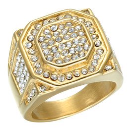 Wholesale Micro Invisible - Hip Hop Micro Pave Rhinestone Iced Out Bling Hexagonal Ring IP Gold Filled Titanium Stainless Steel Rings for Men