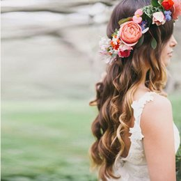 Wholesale Bridal Garlands - Romantic Bohemian Wedding Flower Headband Bridal Headpiece Bridal Flower Crown Boho Wedding Crown Brides Head Garland Hair Flowers