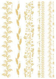 Wholesale Temporary Eye Decorations - Wholesale- VT358 21X15cm 2015 Gold Golden Big Tattoo Stickers Indian Flowers Leaves Decoration Flash Tattoos Glitter Temporary Tattoo Taty