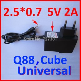 Wholesale China Wholesale Shipping Europe - Wholesale- 2PC LOT Free Shipping EU Power Adapter for Q88 China Tablet PC Europe Charger Universal 5V 2A 2.5mm 90cm Round Pin Wholesales !