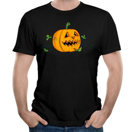 Wholesale Shirt Halloween Adult - Carnival Style Halloween T-Shirt Men Pumpkin Printing Clothing Adult Tops Shirt For Free Shipping Men's T-shirts