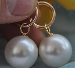 Wholesale South Sea Dangle Pearl Earrings - perfect 15-16mm white natural south sea shell pearl dangle earring 14k + box