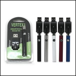 Wholesale Free Vertex - Vertex L0 VV Battery With Wireless USB Charger Fit 510 Atomizer CE3 G2 Liberty Various Color Preheat Vape Pen Battery DHL Free