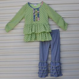 Wholesale Ruffle Pants Clothing - Wholesale- Wholesale Cotton Newborn Baby Mustard Pie Remake Fall Boutique Outfits Girl Clothing Polk Dots Top Multi Ruffle Pant Sets F002