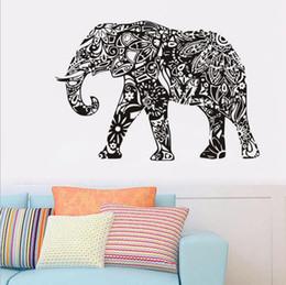 2019 flores 3d de plastico para pared Elefante Pegatinas de Pared Extraíble Negro PVC Tatuajes de Pared Decoración Para El Hogar Sala de estar Arte de la Pared Pegatinas OOA1765