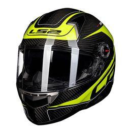 Wholesale Motorcycle Helmet Ls2 Carbon - LS2 ff396 carbon fiber full face motorcycle helmet add dual visor airbags pump 100% original free shipping
