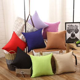 Wholesale Beige Throw - New Pillowcase Pure Color Polyester White Pillow Cover Cushion Cover Decor Pillow Case Blank Christmas Decor Gift 45 * 45CM Home Sofa Throw