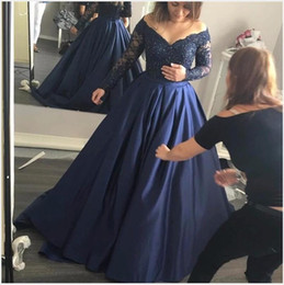 Wholesale Evening Dressess - Navy Blue Evening Dresses Long Sleeve Off Shoulder V Neck Satin 2017 Lace Prom Dressess Zipper Plus Size Prom Gowns