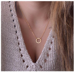 Wholesale Double Chain Circle Gold Necklace - New Hot fashion simple gold and silver plated double chain Simple circle necklace for women best gift wholesale free shipping