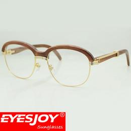 Wholesale Branded Original - luxury Brand designer wooden sunglasses eyebrow vintage gold frame women sunglasses Clear lens wood mens sunglasses with original box