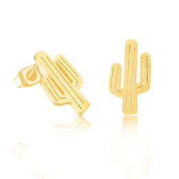 Wholesale Fashion Tree - Wholesale 10Pcs lot 2017 High Quality Fashion 18K Gold Earrings For Women Summer Jewelry Cactus Tree Stud Earrings For Women and Girl