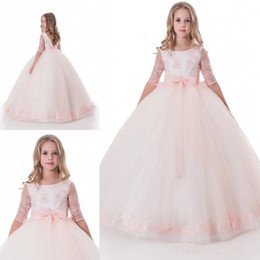Wholesale Toddlers Wedding Shirts - 2017 New Baby Pink Princess Flower Girl Dress Lace Appliques Half Sleeve Bow Wedding Prom Ball Gowns Birthday Communion Toddler Kids TuTu