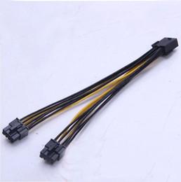 Cabos expressos pci on-line-Atacado- PCI-E PCI Express placa gráfica de vídeo GPU 8Pin fêmea para Dual 2x 8P (6 + 2 pinos) Masculino Divisor de energia Y cabo de fio 18AWG fio 20cm