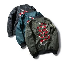 Wholesale long black snake - Harajuku coral snake kanye MA-1 baseball anorak mens jackets and coats Alphas jacket men kanye west embroidery jackets bomber jacket