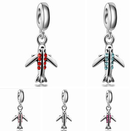Wholesale Airplane Charms - Wholesale 20pcs   lot Fashion Rhinestone Airplane Design Alloy metal Dangle DIY Charms fit European Bracelet & Necklace Low Price