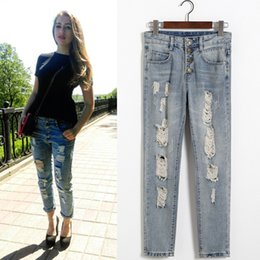 Wholesale Women Bound Jeans - 2016 Top Fashion L 3xl 2xl M Xl Skinny for Women's Jeans Edition New Female Hole Panty Ms Haroun Pants Fashionable Bound Feet