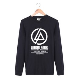 Wholesale Hip Hop Clothes Cheap - Wholesale-Cheap New 2016 Fashion Autumn Clothing Crewneck Pullover Cotton Linkin Park Rock Band Casual Black Sweatshirt Men Hip Hop