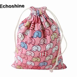 Wholesale Luxury Drawstring Pouch - Wholesale- Hot Sale 2016 Luxury Pink Elephant Printing Women Drawstring Bag Beam Port Storage Gift Bag Cotton Cloth Unisex Small Pouch