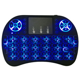 Wholesale Tablet Colours - Mini Wireless Keyboard 3 colour backlit 2.4GHz English Russian Air Mouse Remote Control Touchpad For Android TV Box Tablet Pc