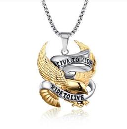 Wholesale Men Eagle Necklaces - Meaeguet Fashion Eagle Necklace Pendants LIVE TO RIDE Biker Sport Men Gold-Color Stainless Steel Hero Jewelry