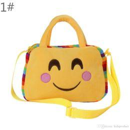 Wholesale Kid Shoulder Messenger School Bag - 2017 Children Emoji Cross Backpacks Messenger Bag Handbag Bag New Kids Girls Boys Cartoon Plush Mini EXpression School Bag bc17013