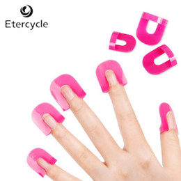 Wholesale Nail Stickers Glue - Wholesale- 26 Pcs 10 Size Manicure Tool Nail Gel Model Clip Nail Edge Print Nail Polish Glue Overflow Preventing Tool with 1pc Sticker