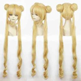 Wholesale Sailor Wig - Love Live! Cosplay Anime Sailor Moon Tsukino Usagi 100cm blonde Golden Princess Costume Cosplay Party Wig Peluca perruque Ladys WIGS