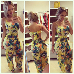 2019 желтые комбинезоны для женщин Wholesale- 2016 Women Jumpsuits Rompers Lady Yellow Clubwear Summer Backless Bandage Playsuit Bodycon Party Trousers Size S to XL дешево желтые комбинезоны для женщин