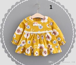 Wholesale Eyelash Lace Dress - 6 styles 16 color new arrival Girl spring autumn Cartoon Curved Eyelashes and rabbit and peach blossom printed long sleeve cotton dress