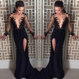 Wholesale Import Shirt - Sexy See Through Black Evening Dresses Long Sleeve Mermaid Sheer Girls Imported Party Dress O-Neck Split Prom Gowns 2017