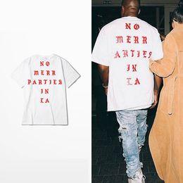 Wholesale designer mens shirts cotton - Mens Summer Tees Kanye West No More Parties in LA Letter printed Short Sleeve Shirt Men Designer Cotton T-shirt Clothing S-3XL