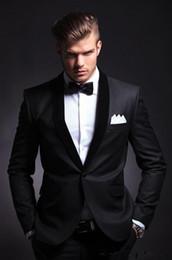 Wholesale Best Selling Groom Tuxedos - 2017 Best Selling Black Mens Wedding Suits Custom Made Slim Fit Wedding Groom Tuxedos For Men Groom Suits Bridegroom (Jacket+Pants)