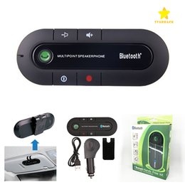 Wholesale Car Kit For Mobile Phone - Wireless Bluetooth Hands Free Speaker Car Kit Music Player Microphone for All Mobile Phone with Retail Package