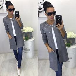 Wholesale Gray Pearl Loose - Wholesale- LDZHPS 2017 Autumn Winter New Gray And Black Long Coats Casual Women O-neck Wool Pearl Beading Loose Cardigan Coat Jacket