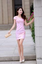 Wholesale Elegant Qipao - 2017 Elegant Chinese Tradition Ladies Cheongsam Qipao Dress Beautiful Vestidos Chinos Cortos Colorful Popular Chinese Cheongsam Qipao