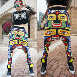 Wholesale Totem Maya - Novelty Indian Maya totem Graphic Print Big crotch pants female hip-hop harem pants hiphop street hanging crotch skinny pants