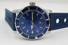 Wholesale Mens Dive Wristwatches - Luxury brand Mens Superocean Heritage Blue Dial Date Rubber Belt stainless steel Sport Chronograph Watch Men rubber belt Dive Wristwatch