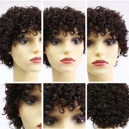 Wholesale Wholesale Wigs For African Americans - Human Hair None Lace Front Short Wigs Afro Kinky Curly Short Black For African American Women Heat Resistant free shipping