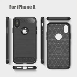 Wholesale Carbon Fibre Cases Wholesale - TPU Back Cover Phone Case For iphone X 7 7 plus iphone 6 5 SE Phone Cases Carbon Fibre Drawing Brushed TPU Case