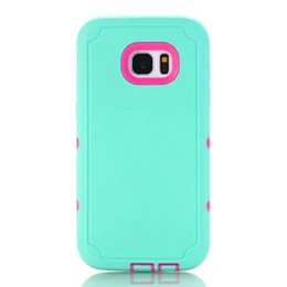 Wholesale Robot Plugs - Hybrid Armor Hard PC Silicone Case For Samsung Galaxy S7 Edge Robot 3 in 1 Camo Shockproof Rugged Defender With Dust Plug Skin Cover Luxury