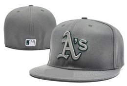 Wholesale Sports Oakland - hotWholesale and retail-Top Quality Mens' Baseball Fitted Hats Women's Sport Oakland Athletics full Closed on field caps A'S logo embroidery