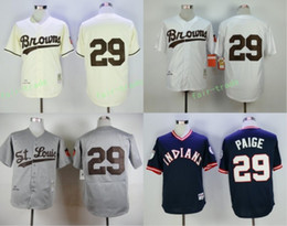 Wholesale Cream Wool - Throwback St. Louis Browns #29 Satchel Paige 1953 Gray Wool Vintage Retro Cooperstown Cream Indians Satchel Paige Baseball Jersey